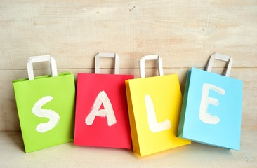Colorful bargain sale shopping bags