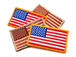 Four USA Military Flag patches