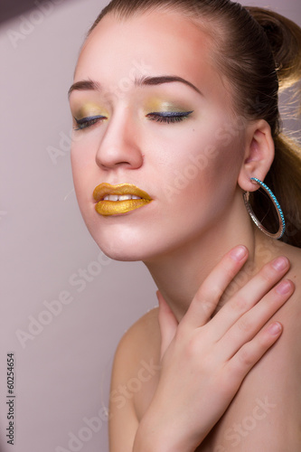 Studio beauty portrait of a beautiful young woman