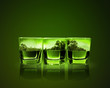 Three glasses of green absinth