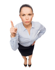 angry businesswoman with finger up