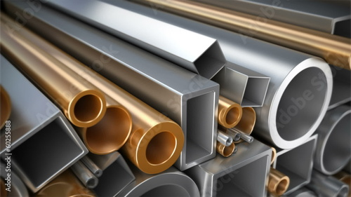 Different steel, copper and aluminum pipes.