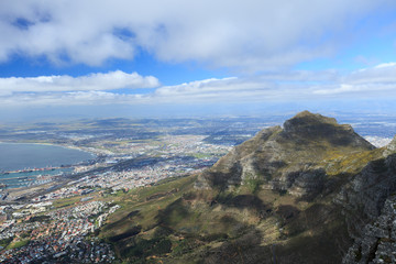 Aerial view of Cape Town from Table Mountain, South Africa.