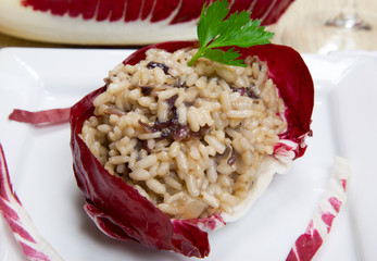 risotto with cicory, radicchio