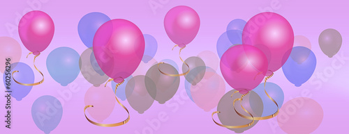 Panorama balloons birthday celebration background