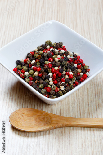 Red, white and black pepper