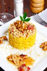 risotto with walnuts, saffron, speck