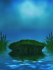 Ocean Background With Mossy Rock and Cattails