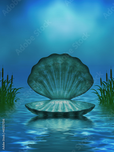 Ocean Background with Seashell and Cattails