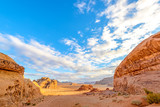 The scenic desert in Wadi Rum, Jordan