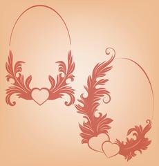 Valentine's background heart ornate vintage floral motif