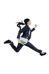 Businesswoman running isolated