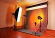 photo studio with lighting equipment