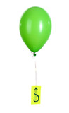 Green one balloon with showing dollar isolated on white