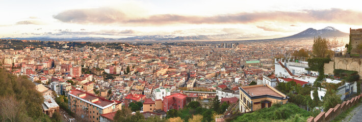 Panorama of Naples at dawn. View from San Martino. Italy