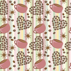 Coffee hearts and cups seamless pattern vector added to swatches