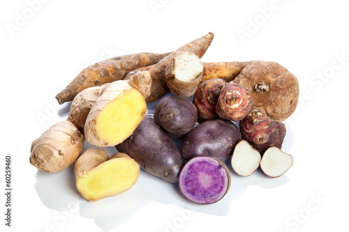 Raw vegetables - tubers - on white background