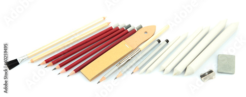 Professional art materials, isolated on white
