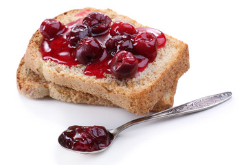 Delicious toast with jam isolated on white