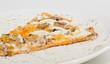 Постер, плакат: Пицца на тарелке на белом фоне