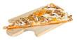 Постер, плакат: Пицца на деревянной доске на белом фоне