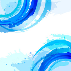 Blue. Abstract vector square background with brush strokes and w
