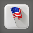 American flag, long shadow vector icon