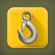 Lifting hook, long shadow vector icon