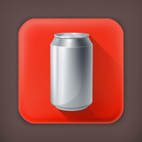 Drink Can, long shadow vector icon