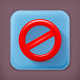 Do Not warning sign, long shadow vector icon