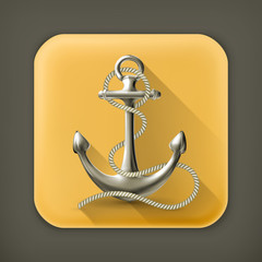 Anchor, long shadow vector icon