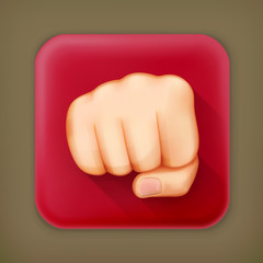 Fist, long shadow vector icon