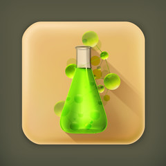 Laboratory flask, long shadow vector icon