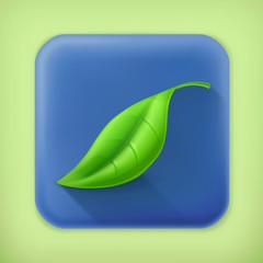 Leaf, long shadow vector icon