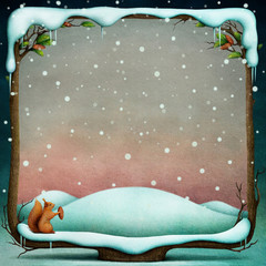 Winter background with snowy wooden frame