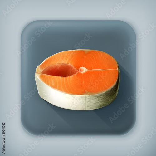 Fish steak, long shadow vector icon