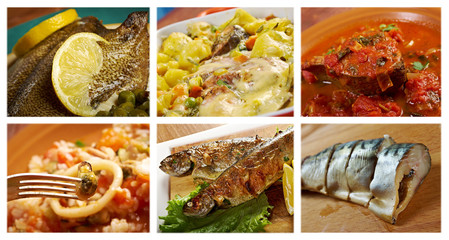 Food set of different  seafoods.