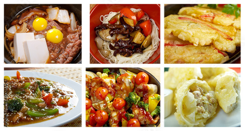 Food set of different chinese cuisine .