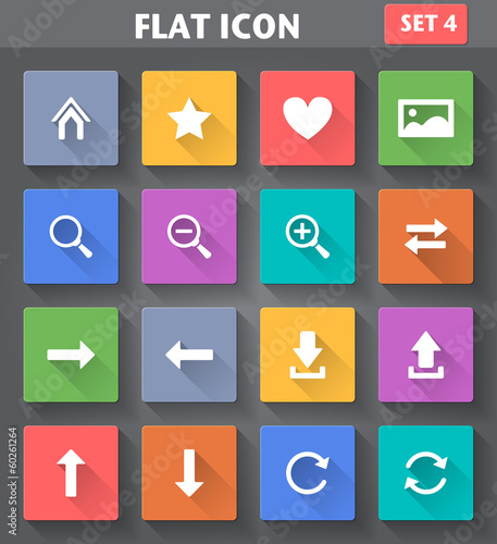 Web Navigation Icons set in flat style with long shadows.