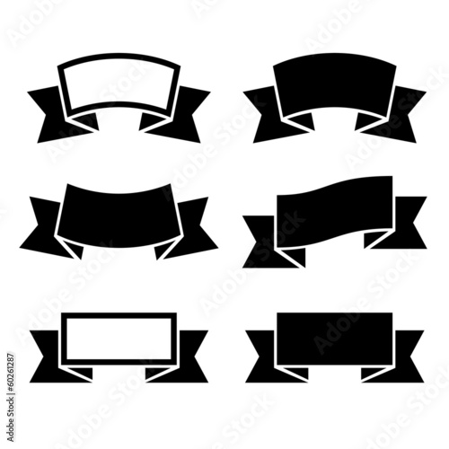 Black ribbons icons set