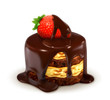 Cake with strawberry in chocolate, detailed vector