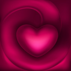 Beautiful volumetric heart on pink silk