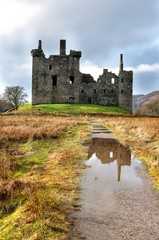 Ruins of medieval castle in Scotland