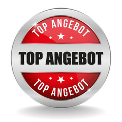 Roter Top Angebot Button mit metall Rand