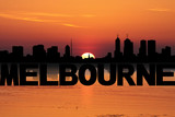 Melbourne skyline reflected with text and sunset illustration