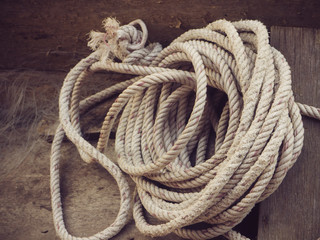 Closeup rope in the boat.