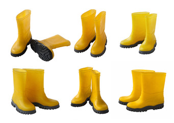 Set 6 pair of yellow gumboots isolated
