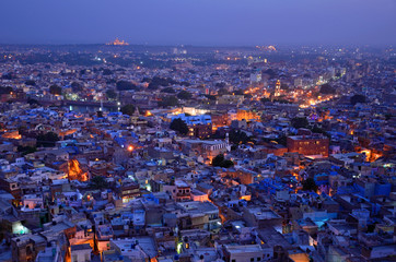 Jodhpur city at night in India