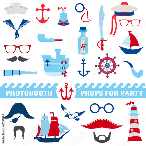 Nautical Party set - photobooth props - glasses, hats, ships