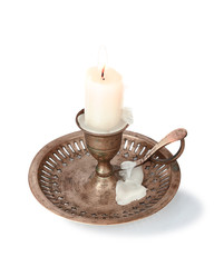 candle in a candlestick